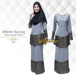 Athirah Kurung With Lace & Manik 2171 (Grey)