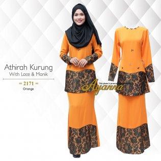 Athirah Kurung With Lace & Manik 2171 (Orange)