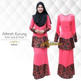 Athirah Kurung With Lace & Manik 2171 (RedPeach)