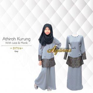 Athirah Kurung With Lace & Manik 2171A (Grey)