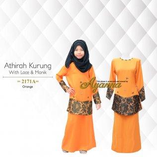 Athirah Kurung With Lace & Manik 2171A (Orange)