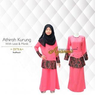 Athirah Kurung With Lace & Manik 2171A (RedPeach)