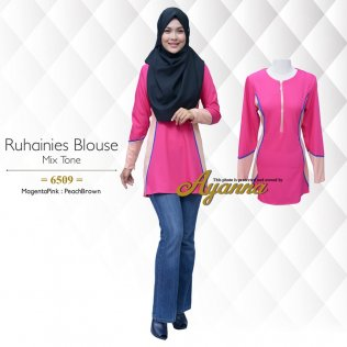 Ruhainies Blouse Mix Tone 6509 (MagentaPink+PeachBrown)