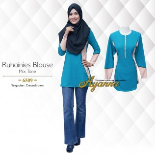 Ruhainies Blouse Mix Tone 6509 (Turquoise+CremBrown)