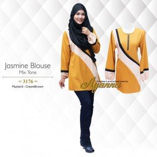 Jasmine Blouse Mix Tone 3176 (Mustard+CreamBrown)