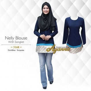 Nelly Blouse With Songket 3168 (DarkBlue+Turquoise)