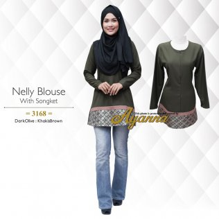 Nelly Blouse With Songket 3168 (DarkOlive+KhakisBrown)