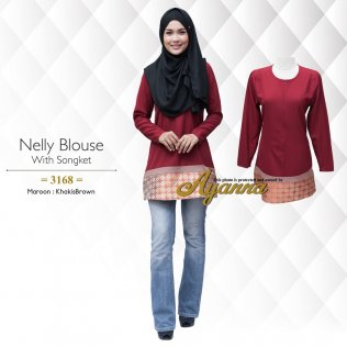 Nelly Blouse With Songket 3168 (Maroon+KhakisBrown)