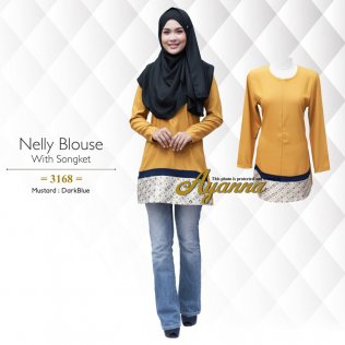 Nelly Blouse With Songket 3168 (Mustard+DarkBlue)