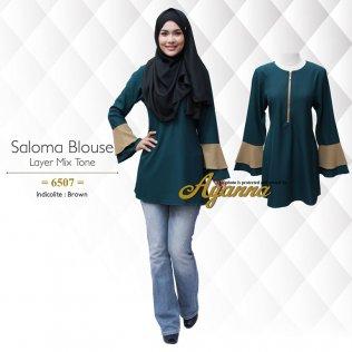 Saloma Blouse Layer Mix Tone 6507 (Indicolite+Brown)