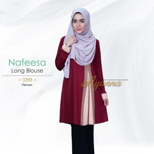 Nafeesa Long Blouse 3293 (Maroon)