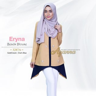 Eryna Beads Blouse 3287A (GoldCream+Dark Blue)