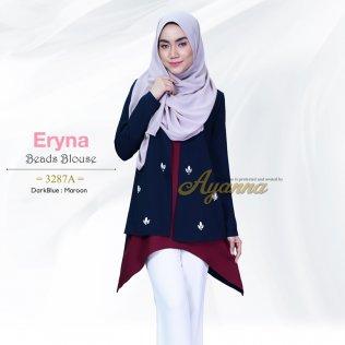 Eryna Beads Blouse 3287A (DarkBlue+Maroon)