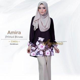 Amira Printed Blouse 3360A (DarkBrown)