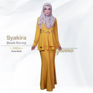 Syakira Beads Kurung 3305A (MustardGold)