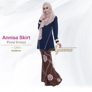 Annisa Skirt Floral Printed 3292 (DarkBrown)