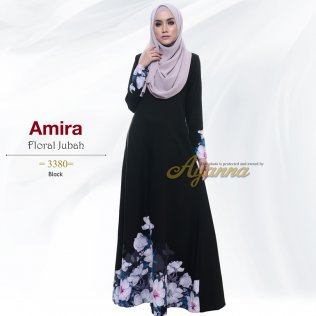 Amira Floral Jubah 3380 (Black)