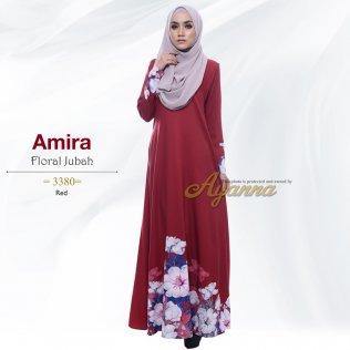Amira Floral Jubah 3380 (Red)