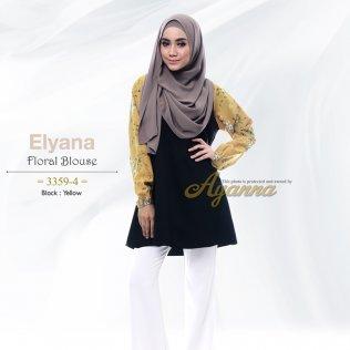 Elyana Floral Blouse 33594 (Black+Yellow)