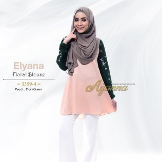 Elyana Floral Blouse 33594 (Peach+DarkGreen)