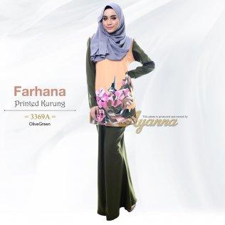 Farhana Printed Kurung 3369A (OliveGreen)