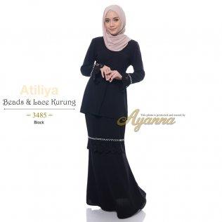 Atiliya Beads & Lace Kurung 3485 (Black)