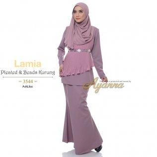 Lamia Pleated & Beads Kurung 3544 (AshLilac)