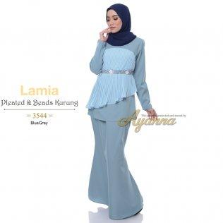 Lamia Pleated & Beads Kurung 3544 (BlueGrey)