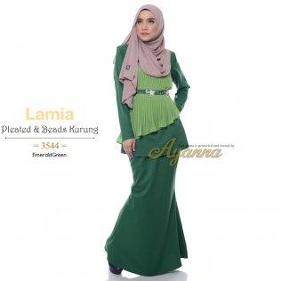 Lamia Pleated & Beads Kurung 3544 (EmeraldGreen)