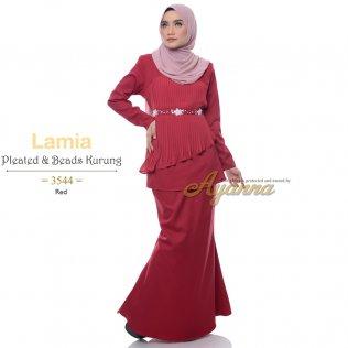 Lamia Pleated & Beads Kurung 3544 (Red)