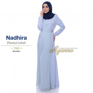Nadhira Pleated Jubah 3563 (SilverBlue)