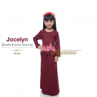 Jocelyn Beads & Lace Kurung 2431 (Maroon)