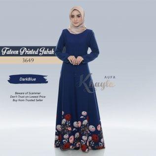 Fateen Printed Jubah 3649 (DarkBlue)