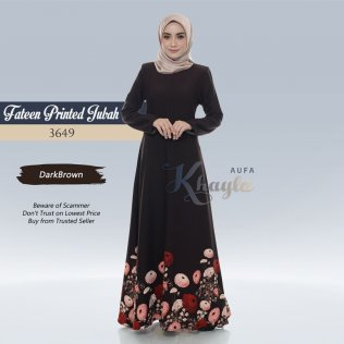 Fateen Printed Jubah 3649 (DarkBrown)