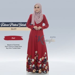 Fateen Printed Jubah 3649 (Red)