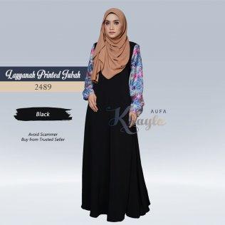 Layyanah Printed Jubah 2489 (Black)