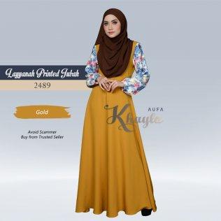Layyanah Printed Jubah 2489 (Gold)