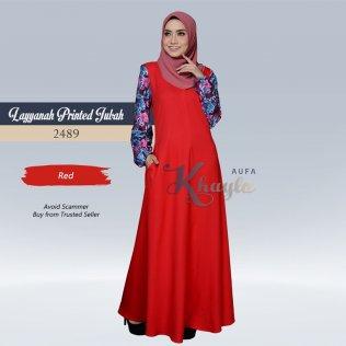 Layyanah Printed Jubah 2489 (Red)