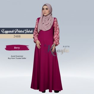 Layyanah Printed Jubah 2488 (Berry)