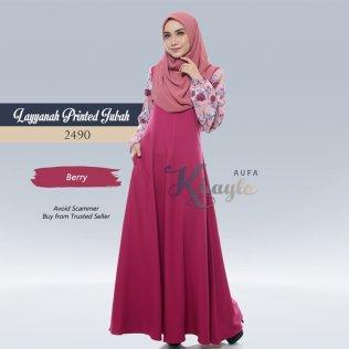 Layyanah Printed Jubah 2490 (Berry)