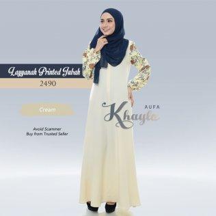 Layyanah Printed Jubah 2490 (Cream)