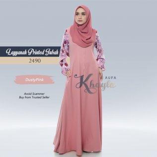 Layyanah Printed Jubah 2490 (DustyPink)