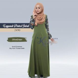 Layyanah Printed Jubah 2490 (OliveGreen)