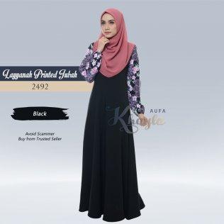 Layyanah Printed Jubah 2492 (Black)
