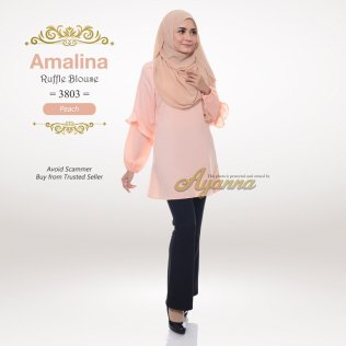 Amalina Ruffle Blouse 3803 (Peach)