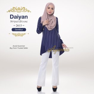 Daiyan Striped Blouse 2615 (DarkBlue)