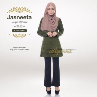 Jasneeta Layer Blouse 2613 (OliveGreen)