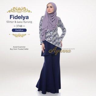 Fidelya Glitter & Lace Kurung 3748 (DarkBlue)