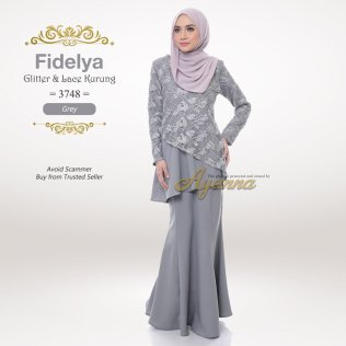 Fidelya Glitter & Lace Kurung 3748 (Grey)