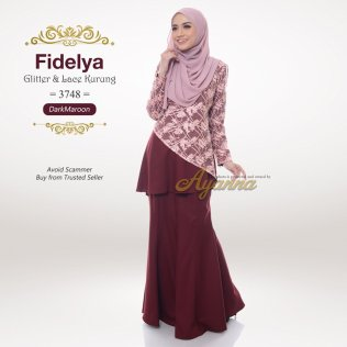 Fidelya Glitter & Lace Kurung 3748 (DarkMaroon)